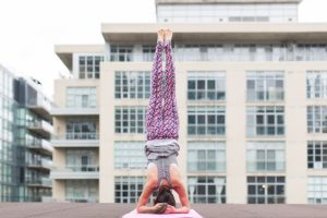yoga headstand building background