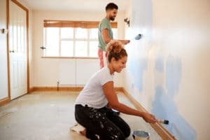 Family painting with eco-friendly paint